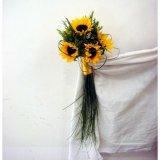 Ślubna wiązanka ze słoneczników.